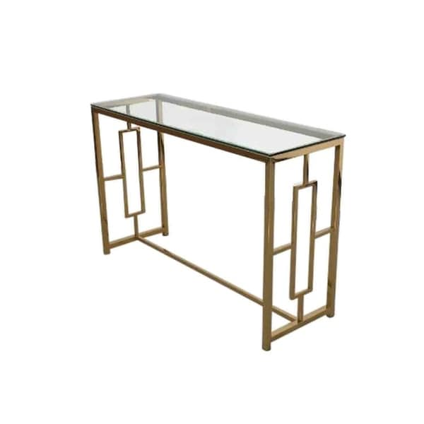 Sagebrook Home 12804-03 Stainless Steel & Glass Console Table, Gold, Kd Metal, 47.25 x 15.75 x 30.75 Inches