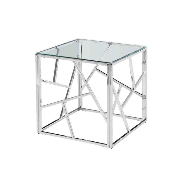 Sagebrook Home 12805-02 Stainless Steel & Glass Side Table, Silver, Kd Metal, 21.75 x 21.75 x 21.75 Inches