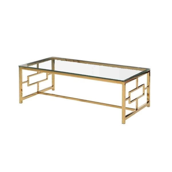 Sagebrook Home 12804-01 Stainless Steel & Glass Cocktail Table, Gold, Kd Metal, 47.25 x 23.5 x 15.75 Inches