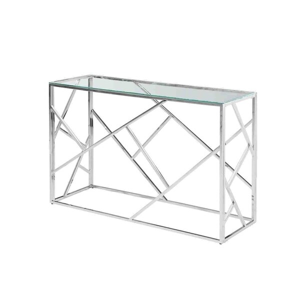 Sagebrook Home 12805-03 Stainless Steel & Glass Console Table, Silver, Kd Metal, 47.25 x 15.75 x 30.75 Inches
