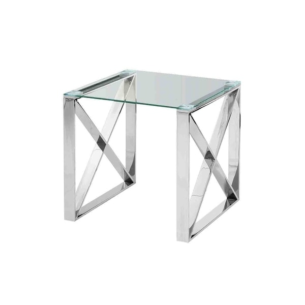Sagebrook Home 12802-02 Stainless Steel & Glass Side Table, Silver, Kd Metal, 21.75 x 21.75 x 21.75 Inches