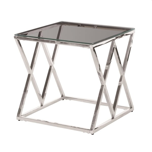 Sagebrook Home 13745-02 Stainless Steel & Glass Side Table, Silver - Kd Metal/Glass, 21.5 x 21.5 x 21.5 Inches