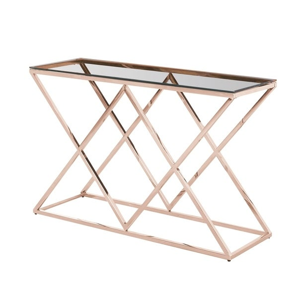 Sagebrook Home 13745-06 Stainless Steel & Glass Console Table, Gold - Kd Metal/Glass, 47.25 x 15.75 x 30.75 Inches