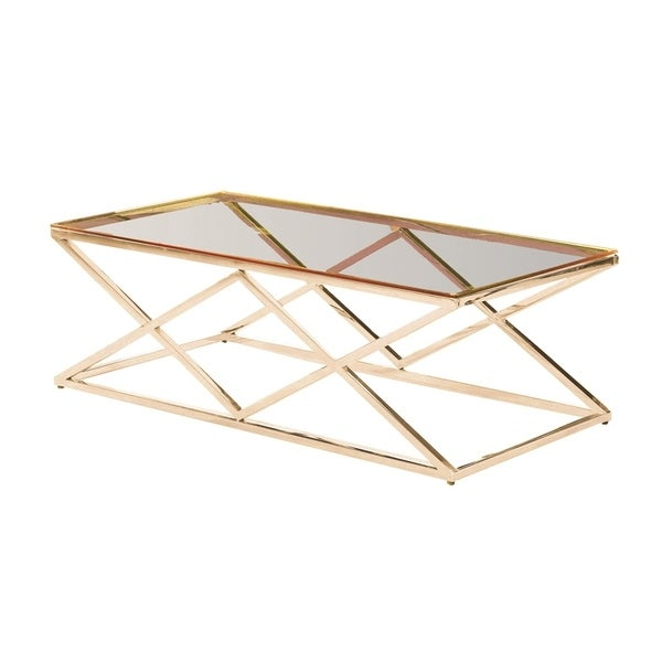 Sagebrook Home 13745-04 Stainless Steel & Glass Cocktail Table, Gold - Kd Metal/Glass, 47.25 x 23.6 x 15.75 Inches