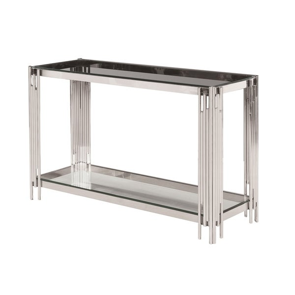 Sagebrook Home 13746-03 Stainless Steel & Glass Console Table, Silver-Kd Steel/Glass, 47.25 x 15.75 x 30.75 Inches