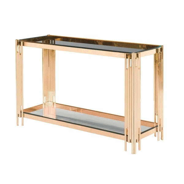 Sagebrook Home 13746-06 Stainless Steel & Glass Console Table, Gold - Kd StnlessSteel/Glass, 47.25 x 15.75 x 30.75 Inches