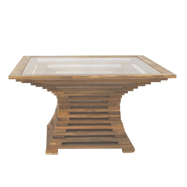 Sagebrook Home 13525-02 Wooden Cocktail Table With Glass Top, Brown Wood/Glass, 34.5 x 34.5 x 20 Inches