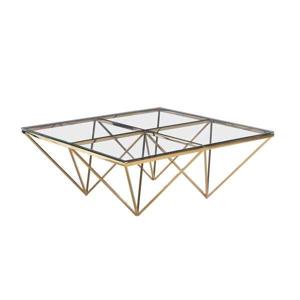 Sagebrook Home 13482-01 Metal / Glass Cocktail Table, Gold Metal/Glass, 42 x 42 x 16.5 Inches