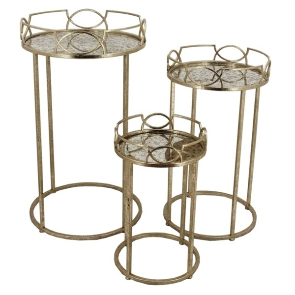 Sagebrook Home FM10173 Accent Tables, Old Gold Metal, 18 x 18 x 32 Inches (Set of 3)