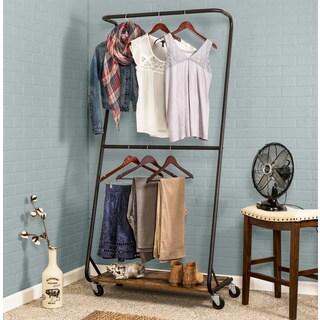 Honey-Can-Do Rustic Z-Frame Double Bar Garment Rack - N/A