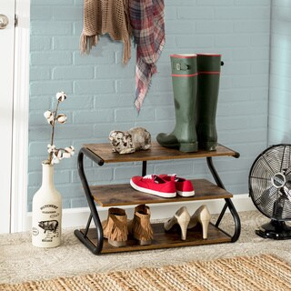 Honey-Can-Do Rustic Z-Frame 3-Level Shoe Rack - N/A