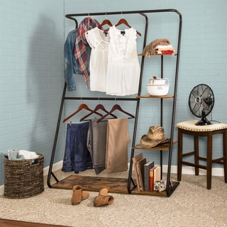 Honey-Can-Do Rustic Z-Frame Wardrobe with Shelves - N/A
