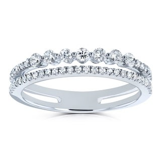 Annello by Kobelli 10k Gold 1/4ct TDW Diamond Two-Row Parallel Band Fashion Ring