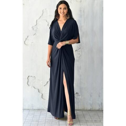 333041f149f KOH KOH Womens Long Sexy Deep V-neck Half Sleeve High Slit Maxi Dress