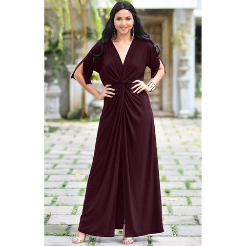 ba284b1e55f9 KOH KOH Womens Long Sexy Deep V-neck Half Sleeve High Slit Maxi Dress