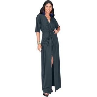 7481859fde Shop KOH KOH Womens Long Sexy Deep V-neck Half Sleeve High Slit Maxi ...