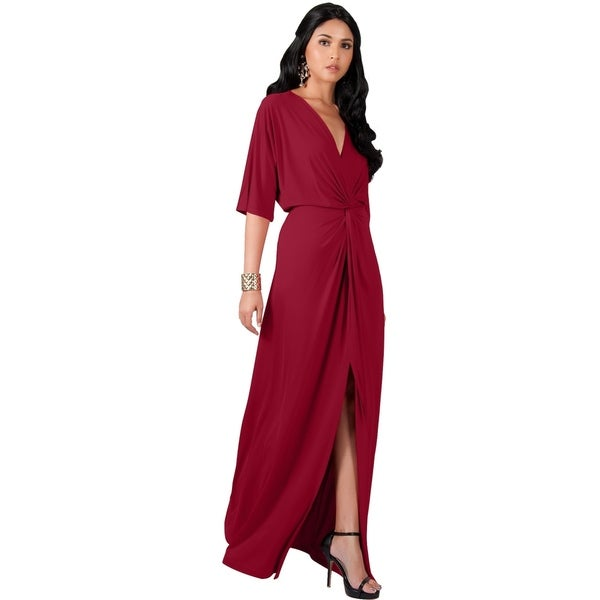 KOH KOH Womens Long Sexy Deep V-neck Half Sleeve High Slit Maxi Dress