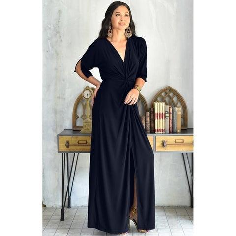 KOH KOH Womens Long Sexy Deep V-neck Half Sleeve High Slit Maxi Dress