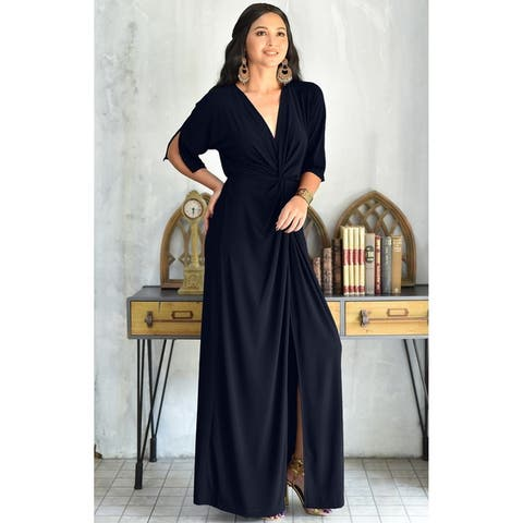 7edd63be8d9 KOH KOH Womens Long Sexy Deep V-neck Half Sleeve High Slit Maxi Dress
