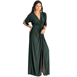KOH KOH Womens Long Sexy Deep V-neck Half Sleeve High Slit Maxi Dress (More options available)