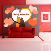 """Cats Love St.Valentine Full Color Wall Decal Sticker K-1100 FRST Size 30""""x47"""""""