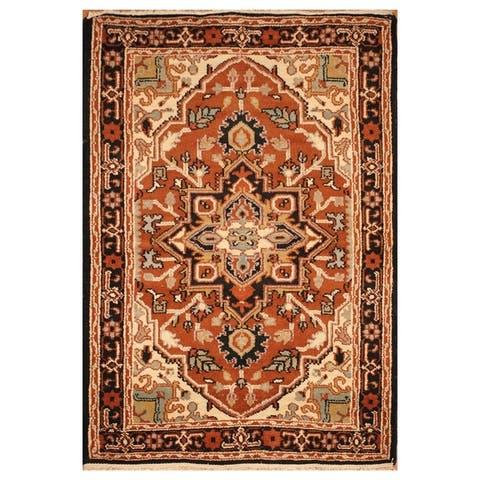 Handmade One-of-a-Kind Heriz Wool Rug (India) - 4'3 x 6'