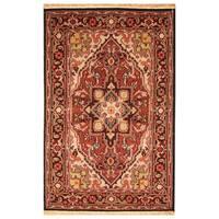 Handmade Herat Oriental Indo Hand-knotted Tribal Heriz Wool Rug (4' x 6')