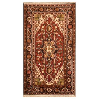 Handmade Heriz Wool Rug (India) - 3' x 5'1