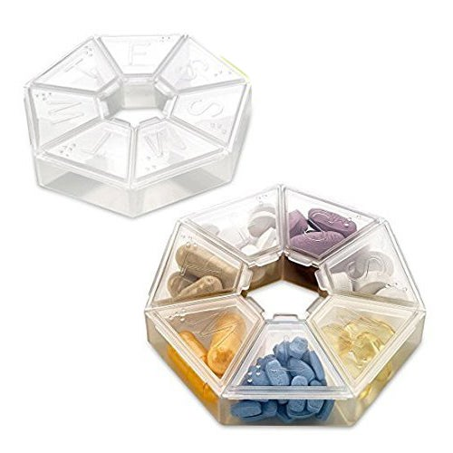 MEDca Weekly Pill Organizer Clear 7-Sided Pill Reminder