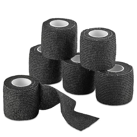 MEDca Self Adherent Cohesive Wrap Bandag Bundle Sports Injury Tape Supports Muscle Bandages Medical Tap Wrap Aid Bulk - Black