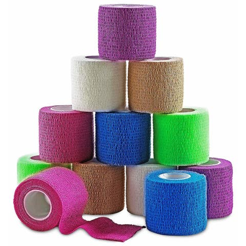 MEDca Self Adherent Cohesive Wrap Sports Injury Tape Bandages Support Muscles Joints FDA Approved 2 Inches X 5 Yards - 12 Pack