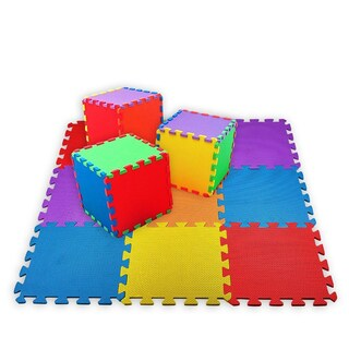 Creative Time 10-tile Multi-Color Floor Mat