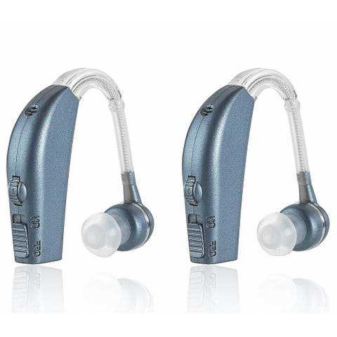 MEDca Personal Ear Hearing Amplifier Digital Enhancement Sound Amplifier Pair Personal Hearing Enhancement Double Pack - Blue