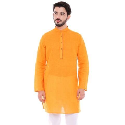 In-Sattva Men's Indian Classic Light Mustard Kurta Tunic with Banded Collar