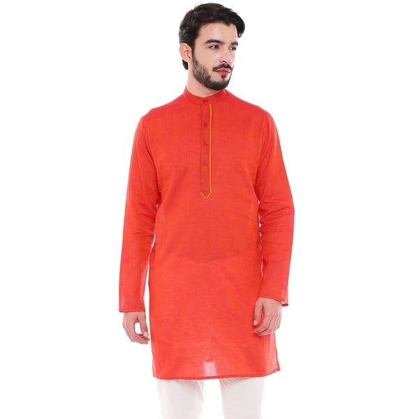 In-Sattva Mens Indian Classic Pure Cotton Kurta Tunic with Stylized Placket
