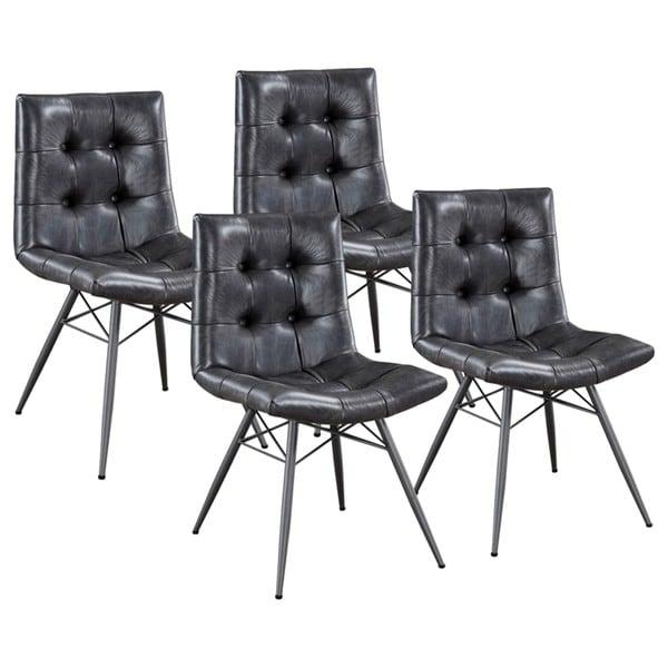 shop modern artistic design button tufted grey upholstered dining chairs set of 4 free. Black Bedroom Furniture Sets. Home Design Ideas