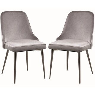 Modern Chic Design Grey Velvet with Metal Legs Dining Chairs (Set of 4)