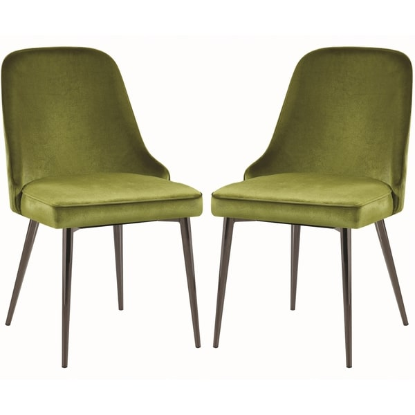 shop modern chic design green velvet with metal legs dining chairs set of 4 ships to canada. Black Bedroom Furniture Sets. Home Design Ideas