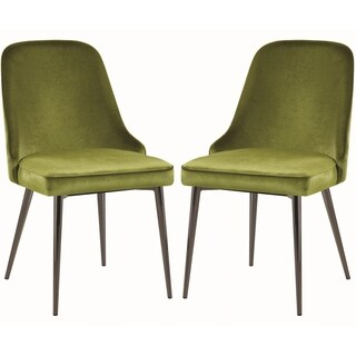 Modern Chic Design Green Velvet with Metal Legs Dining Chairs (Set of 4)
