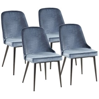 Modern Chic Design Blue Velvet with Metal Legs Dining Chairs (Set of 4)