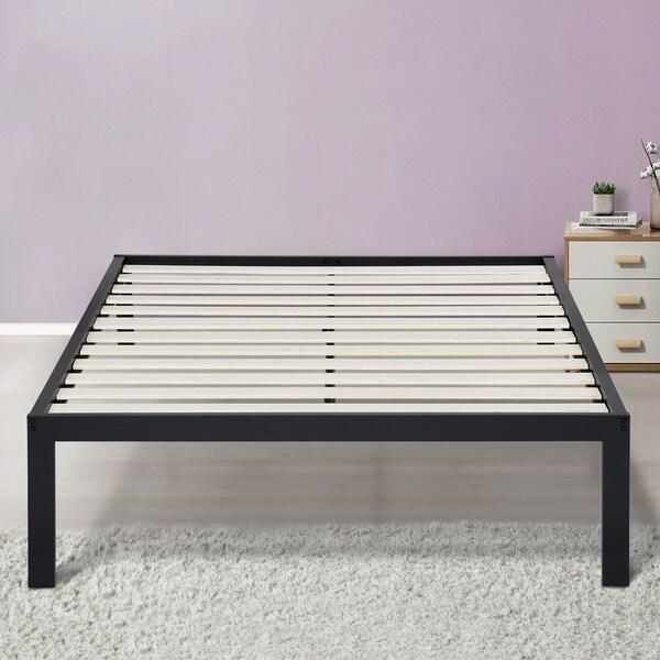 Sleeplanner 14 Inch Platform Metal Bed Frame Wooden Slat Support Twin Size