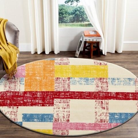 "LR Home Whimsical Sliding Squares Cream / Red Kids Area Rug ( 4'8"" Round )"