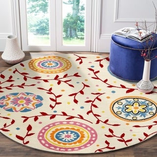 "LR Home Whimsical Graceful Gardens Cream / Red Kids Area Rug ( 4'8"" Round )"