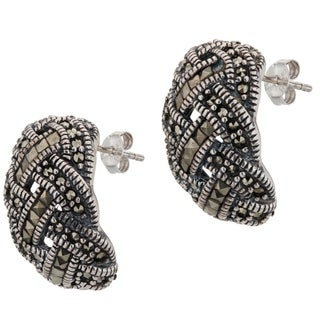 Addison Lane Basketweave Design Marcasite Half Hoop Earrings