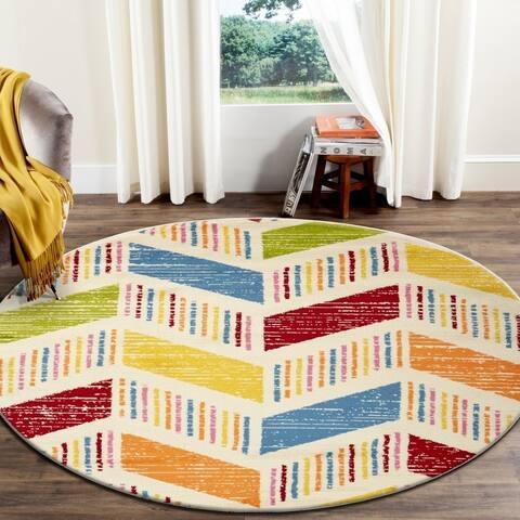 "LR Home Whimsical Flying Arrows Cream / Orange Kids Area Rug ( 4'8"" Round ) - 4'8"" Round"