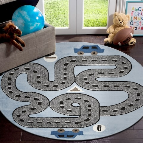 """LR Home Whimsical Racing Roadways Kids Area Rug ( 4'8"""" Round )"""