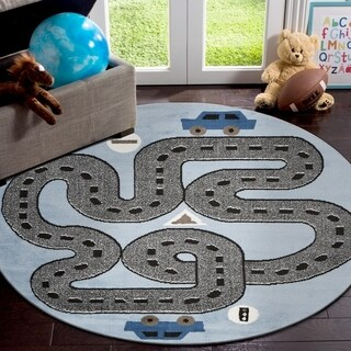 "LR Home Whimsical Racing Roadways S.Blue / L.Blue Kids Area Rug ( 4'8"" Round )"