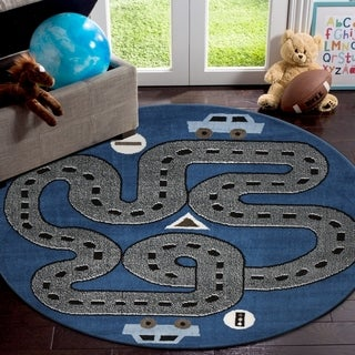 "LR Home Whimsical Handsome Highways S.Blue / L.Blue Kids Area Rug ( 4'8"" Round )"