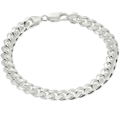 Mondevio 8mm Miami Cuban Curb Link Chain Bracelet in Sterling Silver (8.5 & 9 Inches)