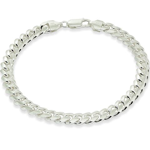 Mondevio 7.5mm Miami Cuban Curb Link Chain Bracelet in Sterling Silver (8.5 & 9 Inches)